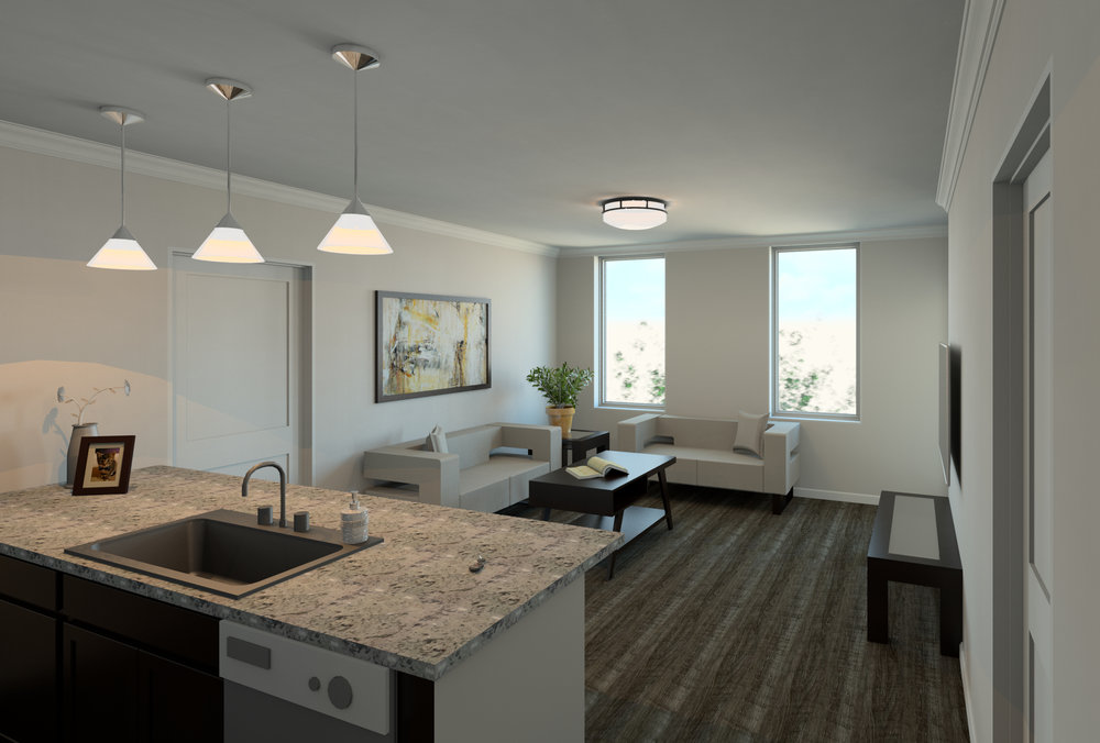 100 West Water Apartments interior renderings of a private residence.