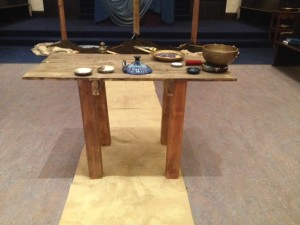 "Our ""created just for this Lent"" communion table."