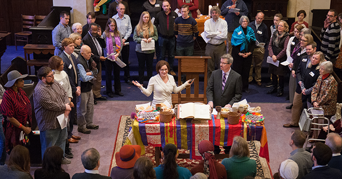 ". Communion for Jeff's last Sunday at Pilgrims. Our ""Clerk Book"" is opened up on the table. photo by @mikemorones."