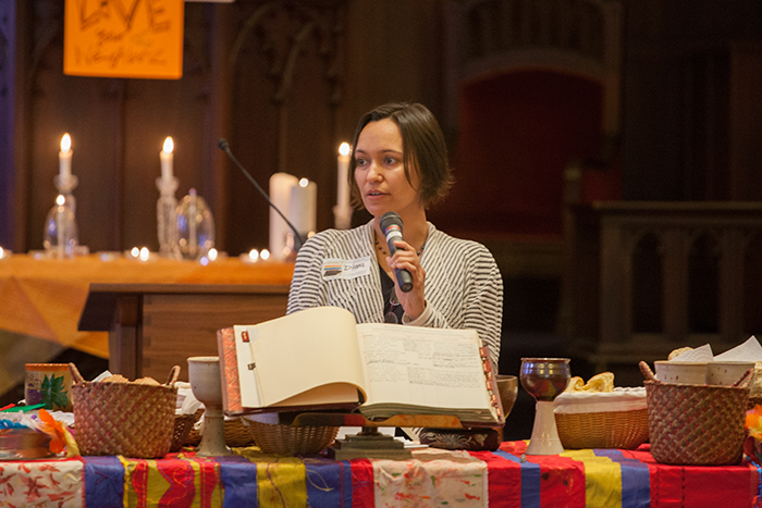 Diana Bruce shares during our final worship with Jeff. our clerk book is in front of diana. Photo by @mikemorones.