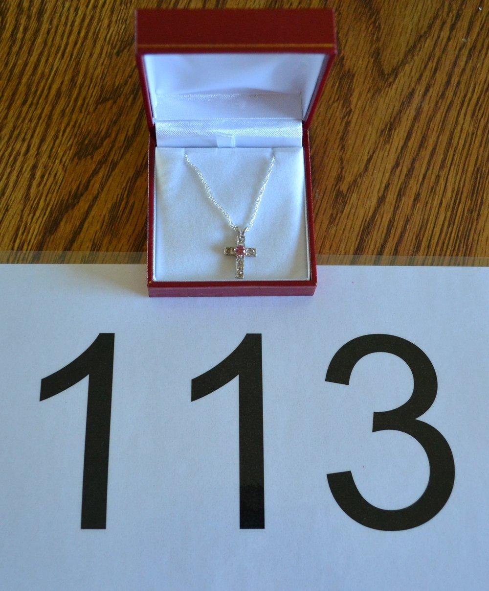 """#113  Size is 18"""" pendant, 4mm gem"""