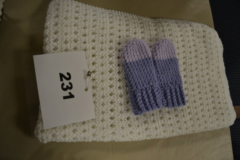 #231  Crocheted blanket, toddler hand warmers