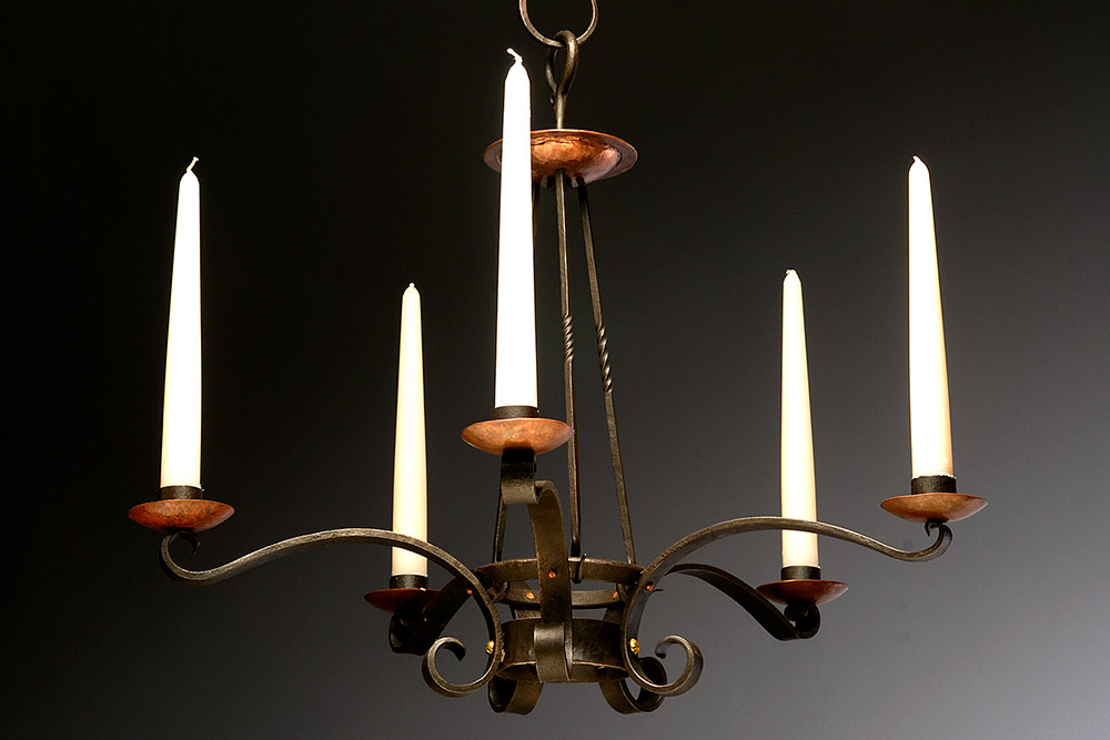 Five-Arm Candelabra with Copper Drip Pans