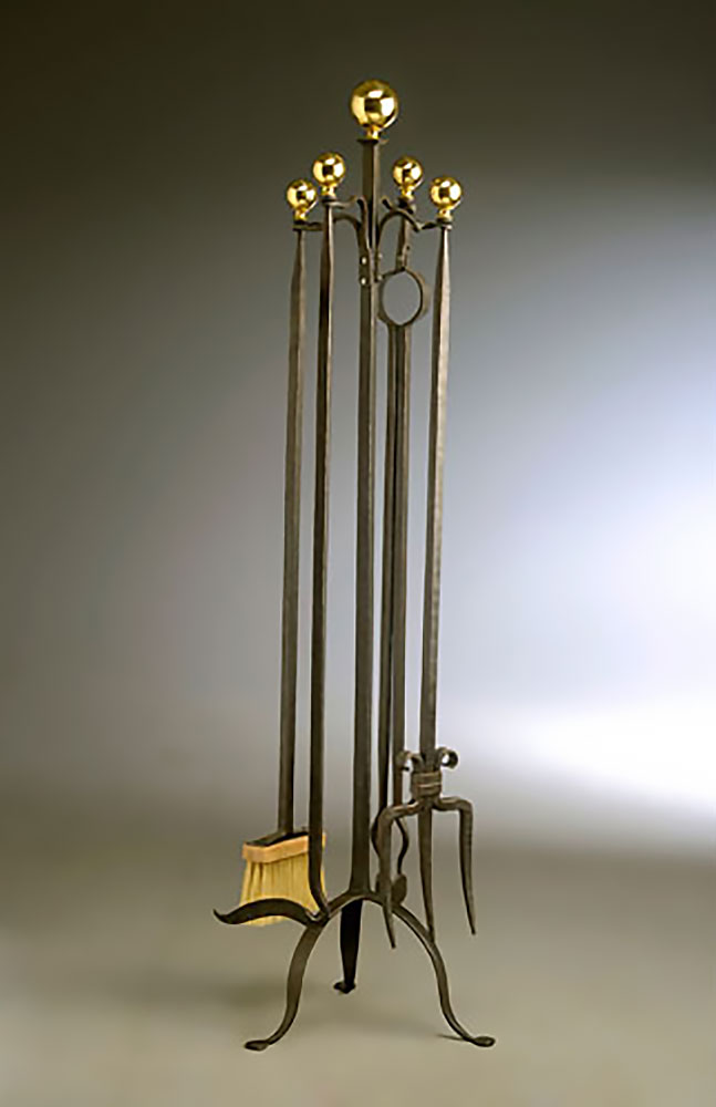 Fire Tool Set, iron with brass finials