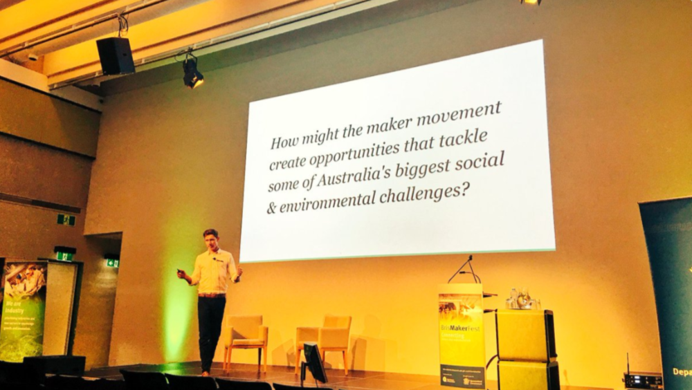 Tom Allen (of  Seven Positive +  Impact Boom ), asked our 'How might we...' question in his presentation to challenge attendees and help them understand how design thinking could be used to tackle societal issues. Photo: SLQ.