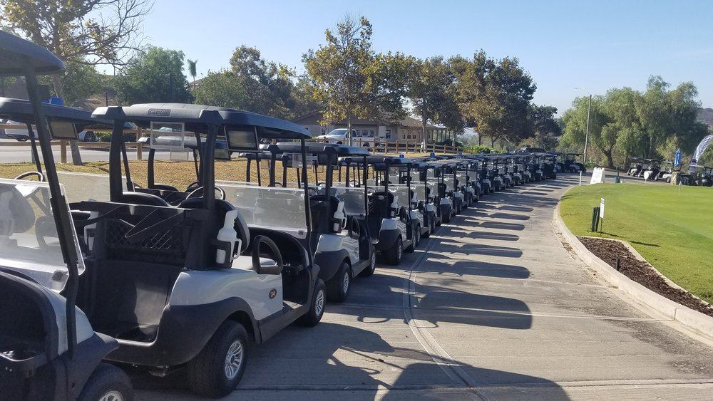 A line of golf carts.