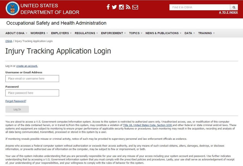 OSHA Injury Tracking Application Login screen.