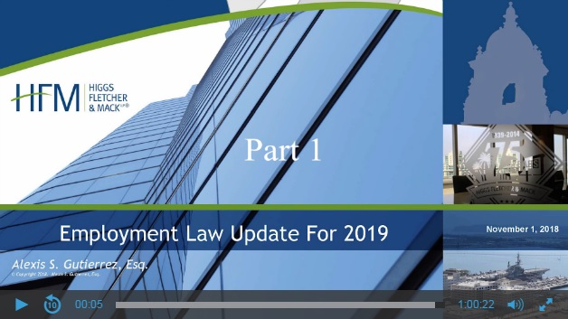 Presentation slide for Employment Law Update for 2019 presented by Alexis S. Gutierrez.