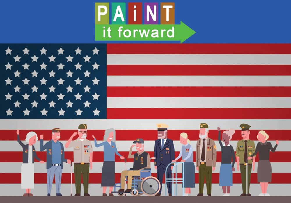 Illustration of the Paint-It-Forward Logo above the American flag with military veterans standing in front.