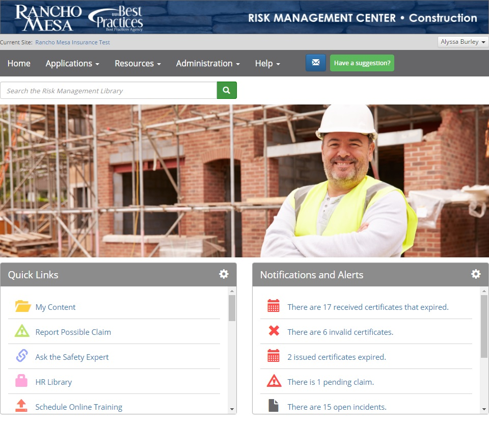 Risk Management Center Screenshot.