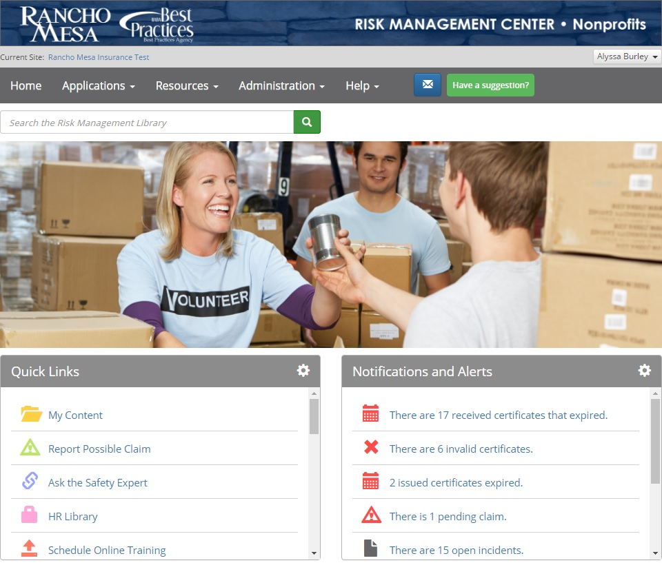 Risk Management Center for Nonprofits home page screen shot