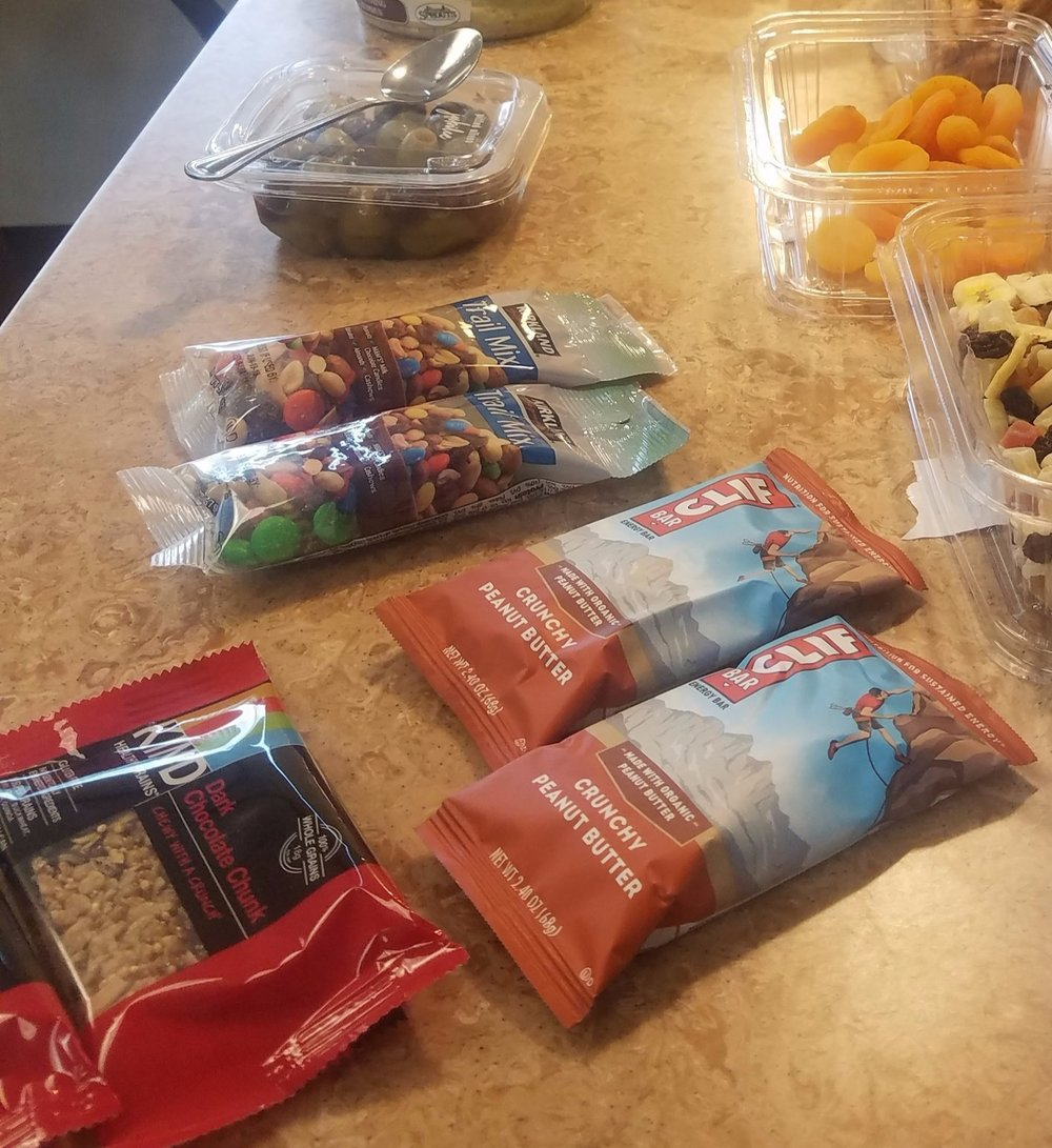 granola bars and bags of trail mix