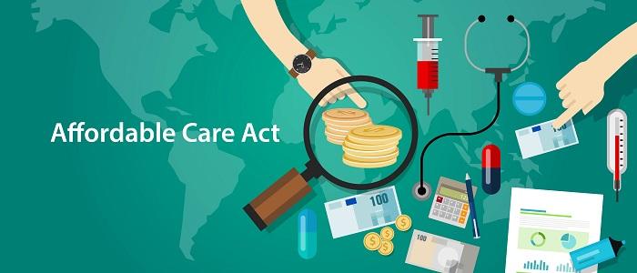 """Image of words, """"Affordable Care Act"""" and graphics of money, calculator, magnifying glass, medicine, etc."""