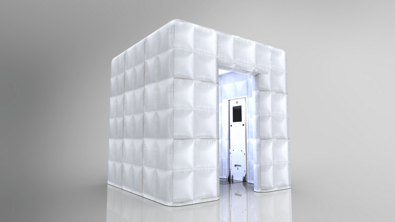 If guests need more privacy we also provide this fun cubical bubble photo booth set up!