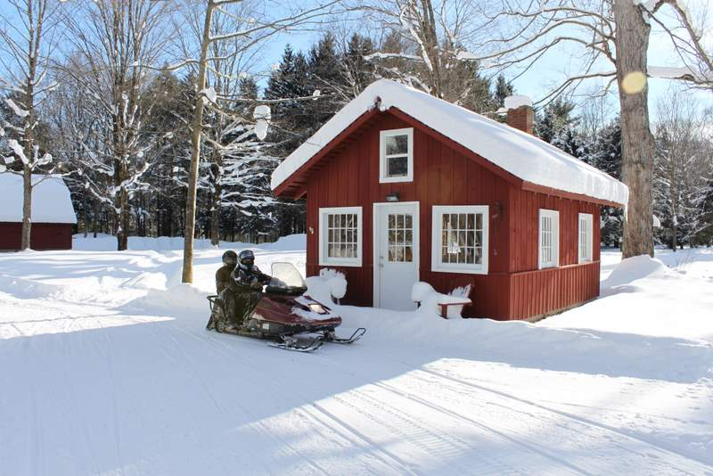 Snowmobiling Cabin to Rent at Wellnesste Lodge in Upstate NY