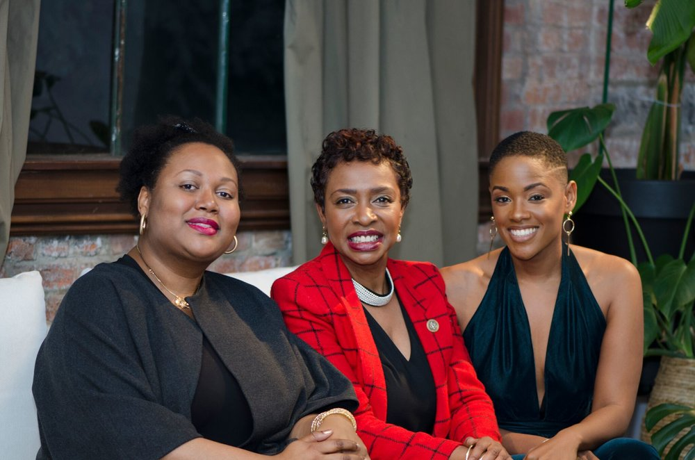 Black Pearl Collective founder Johanne Civil, Congresswoman Clarke, and Success Supper founder Brittany