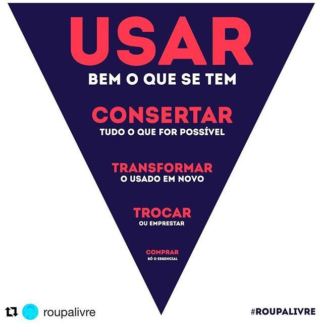 A inspiração de hoje fica por conta do @roupalivre  Sustentabilidade é saber usar bem o que se tem. ♻️🌎#novaeconomia #cooperarfazsentido