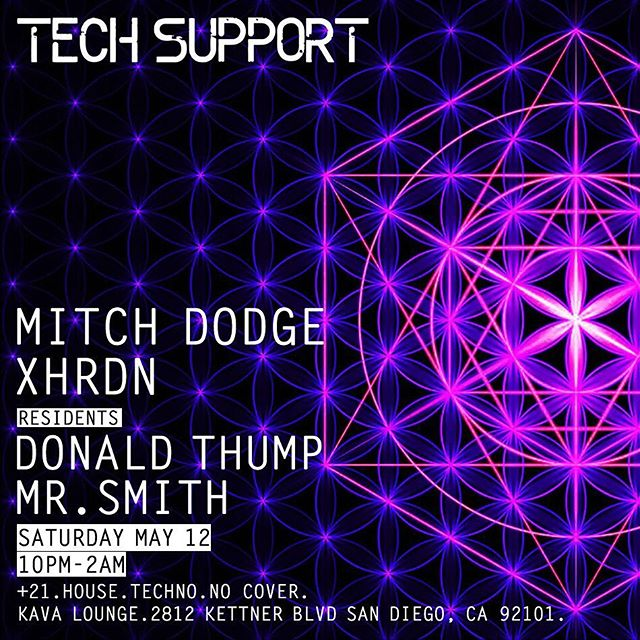 @MitchDodge and @djDonaldThump throwing down at Tech Support tonight alongside the homies @mrsmithdj and @XHRDN 🥋