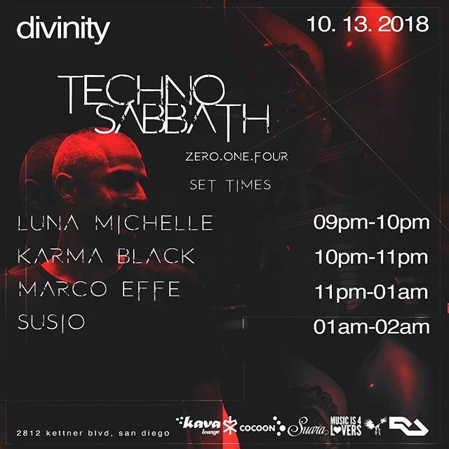 Get your dose of techno tonight at @kavalounge for @divinitymusic  presents Techno Sabbath featuring @marcoeffeofficial! . . . . . . . #susio #divinitymusic #marcoeffe #suaramusic #cocoon #techno #technomusic #thekavalounge #technohousemusic #sandiego #darktechno #undergroundmusic