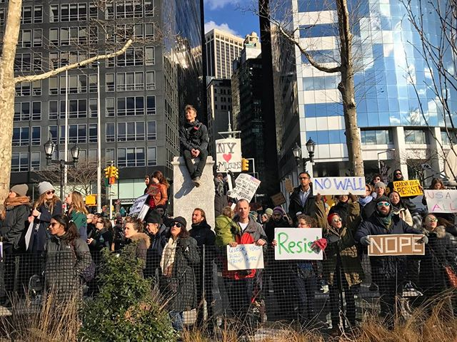 """No ban, no wall, New York for all"" #noban #nowall #nomuslimban #batterypark #nevertrump #resist #protest #dissent #45to45"