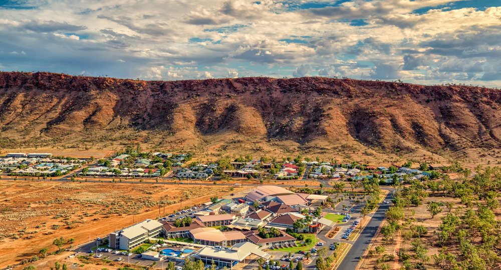 Alice Springs Convention Centre at the foot of the MacDonnell Ranges