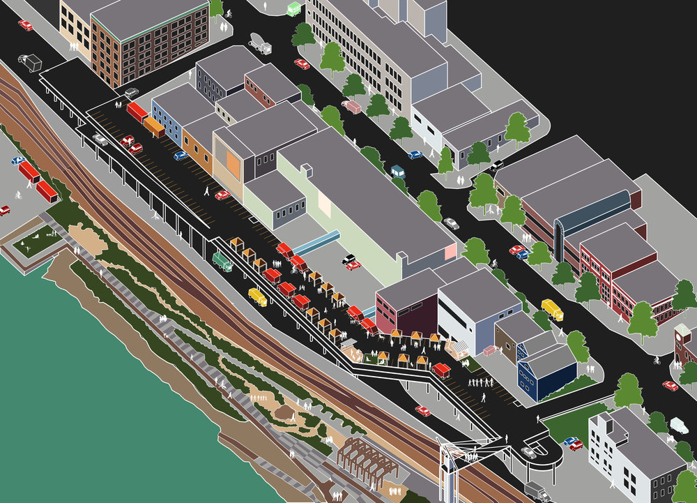 Axonometric view of New Westminster's Waterfront by Eleanor Arkin