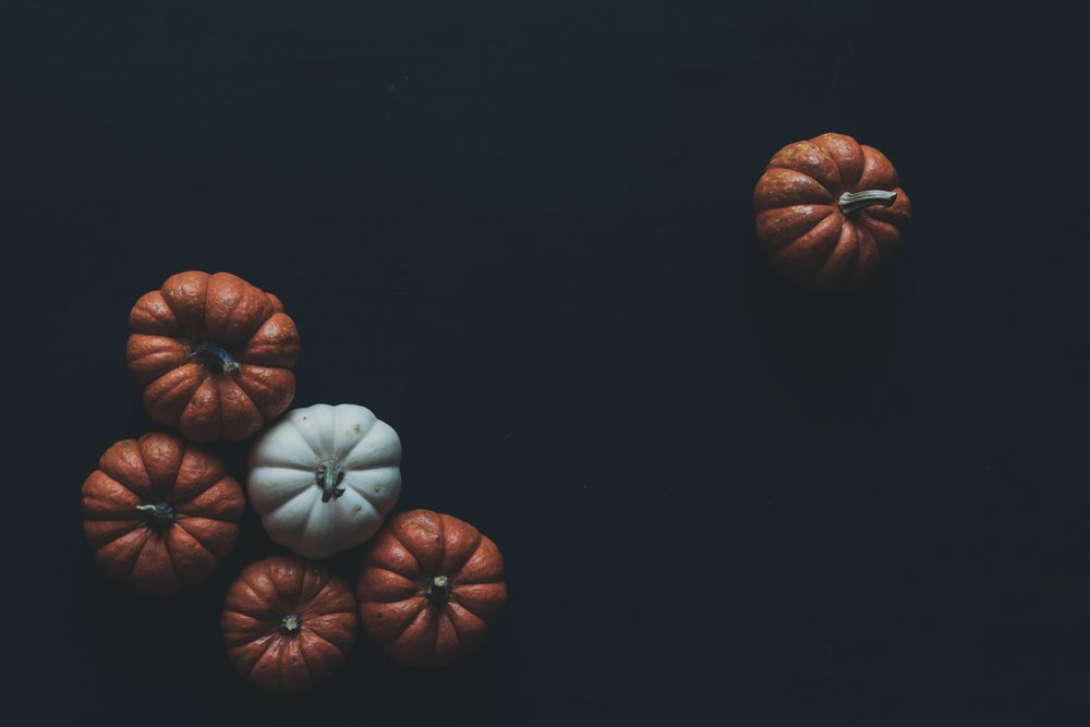 moody and dimly lit photo of pumpkins against a black background