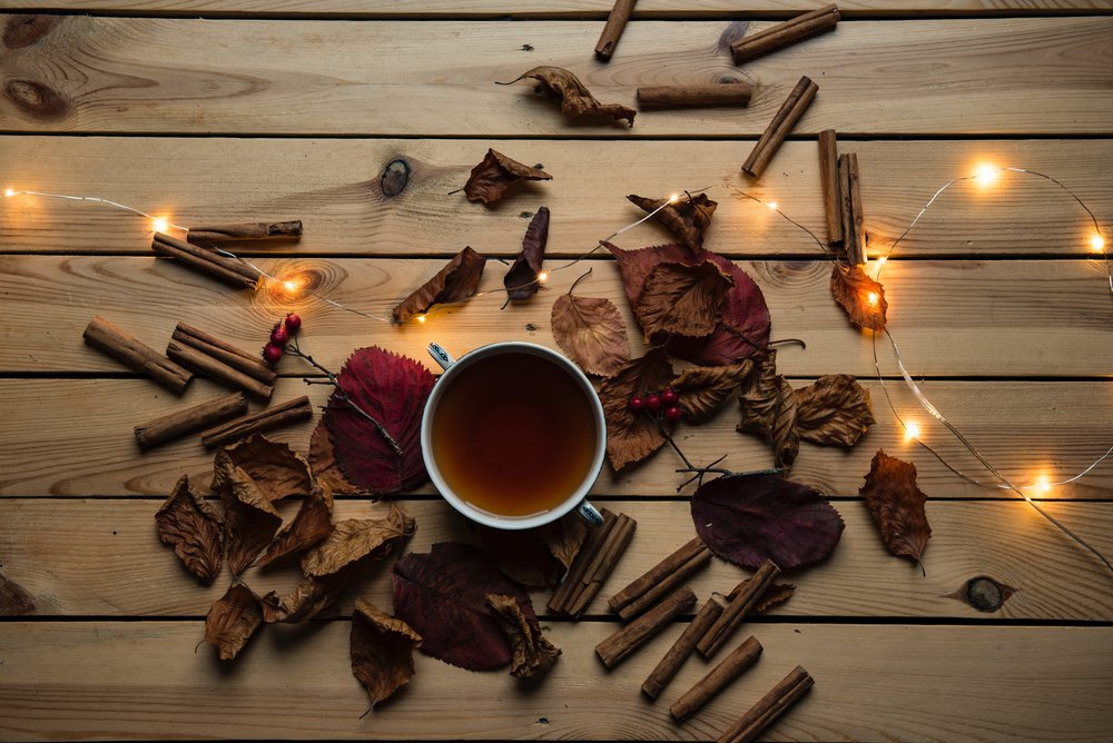Cinnamon sticks, leaves, and twinkle lights surround a mug of something that looks like apple cider