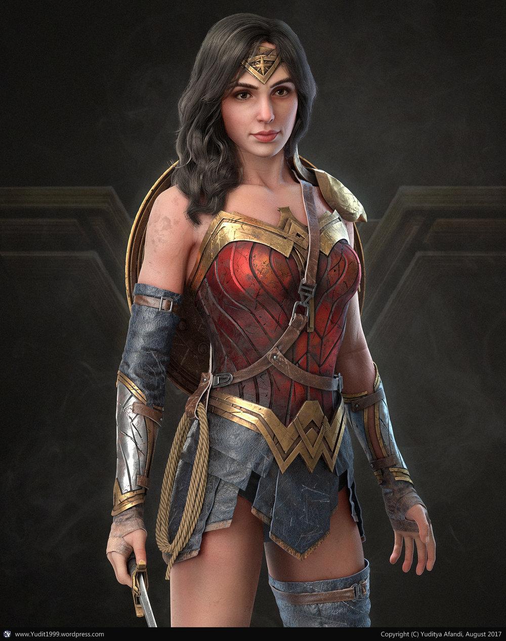 Wonder Woman by Yuditya Afandi, using the Metal and Manmade textures.