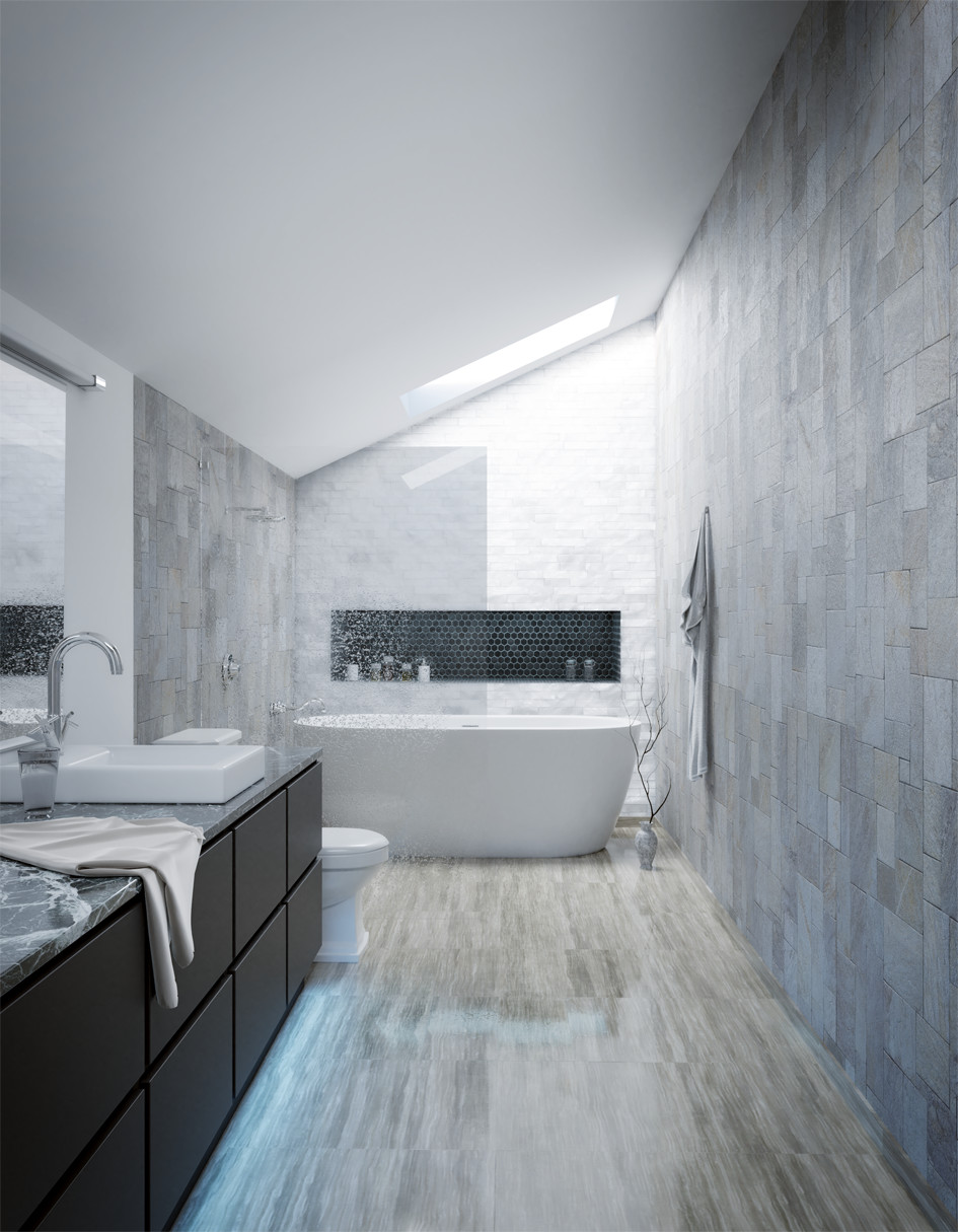 Contemporary Blue-Gray Bathroom by Harald Hanke, using the Wood and Marble textures.