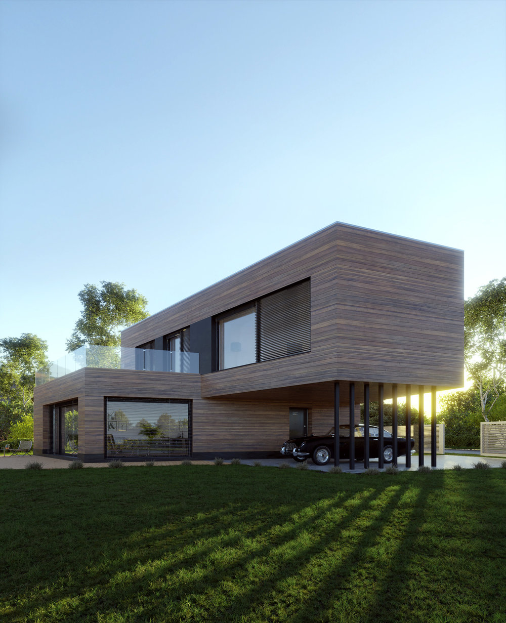 House by Lavarch Architects by Jan Morek, using the Wood and Concrete textures.