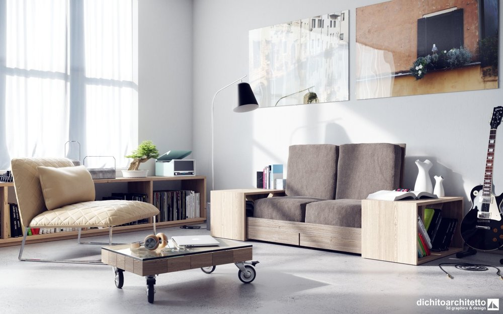 Viceversa Sofa by Piero di Chito, using the Fabric and Wood textures.