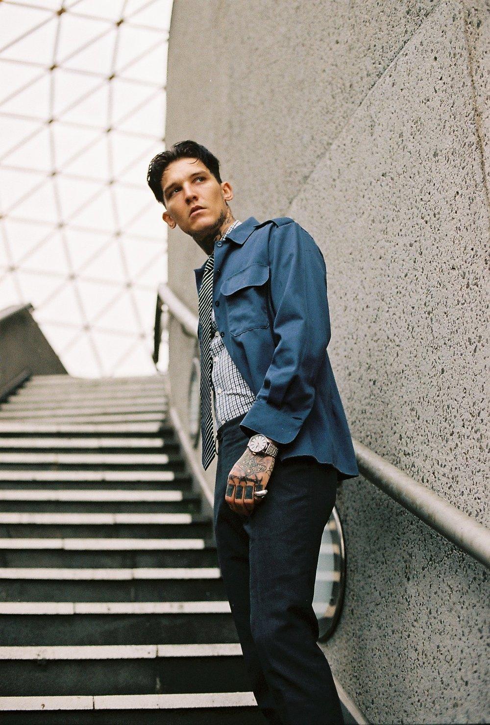 Jacket: Vintage find Shirt: @ ralphlauren  Pants & Tie @jacklondon watch: @ nixon  Ring @ tokyohumanexperiments