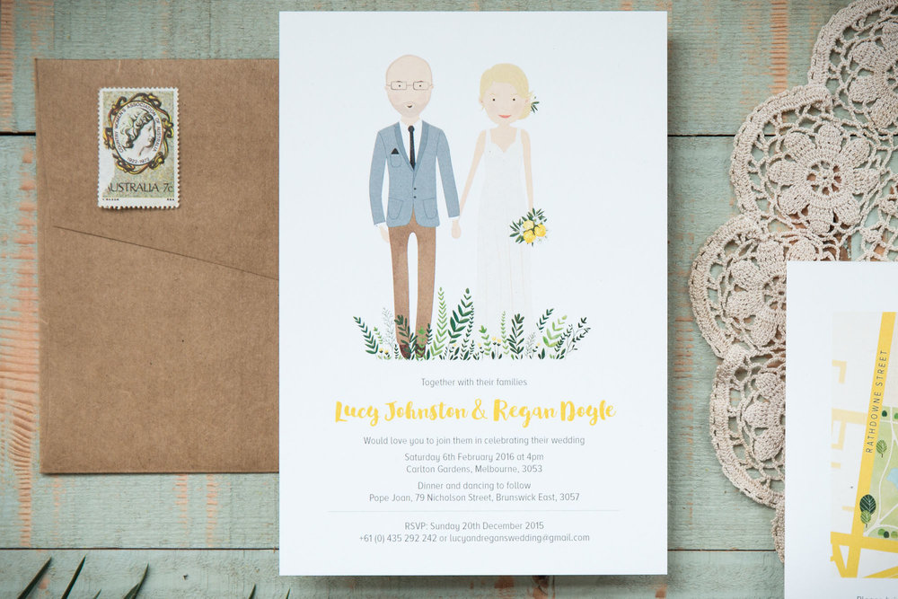 Custom, illustrated wedding stationery. Invitation featuring portrait illustration.