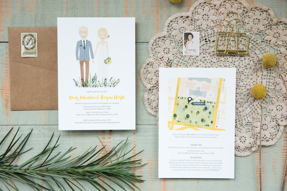 Custom, illustrated wedding stationery. Invitation featuring portrait illustration and Information card featuring illustrated map of wedding venue.