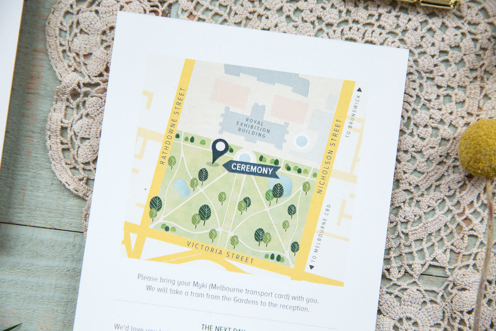 Custom, illustrated wedding stationery. Information card featuring illustrated map of wedding venue.