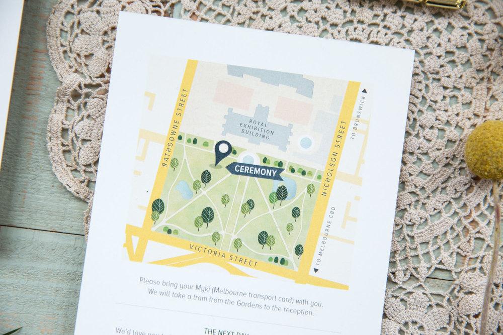 Custom, illustrated wedding stationery. Information card featuring illustrated map of wedding venue.