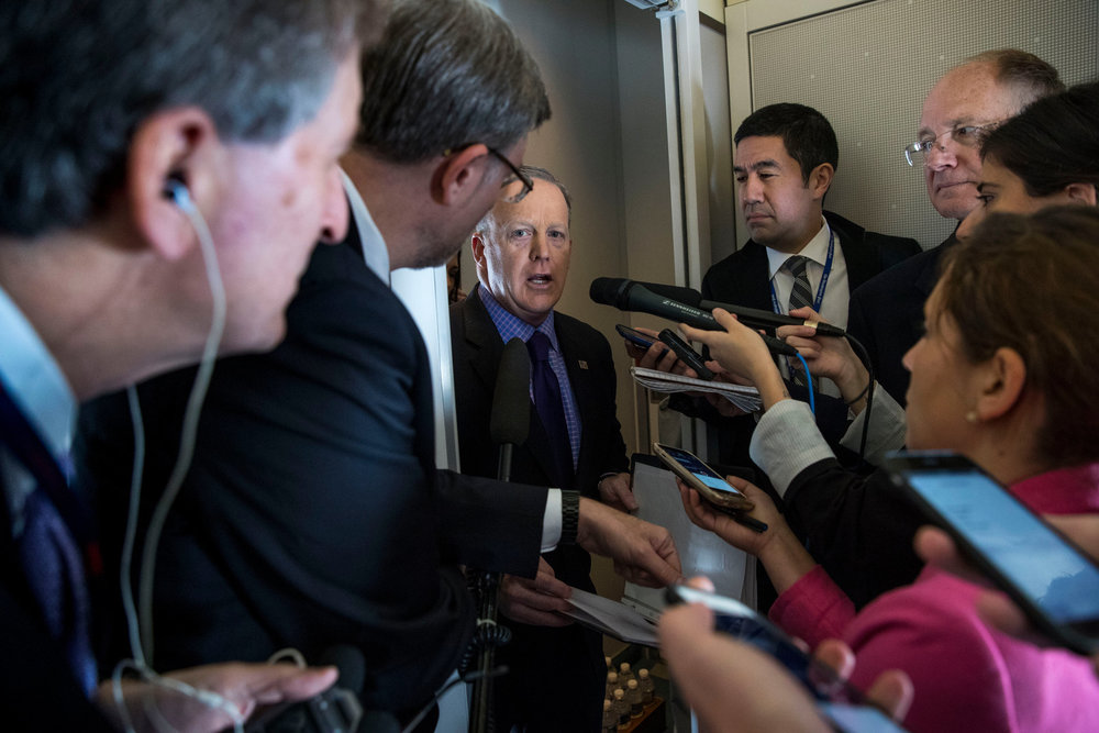 White House Press Secretary Sean Spicer briefing reporters on board Air Force One as President Trump traveled to Philadelphia for a Republican Party retreat.Doug Mills/The New York Times