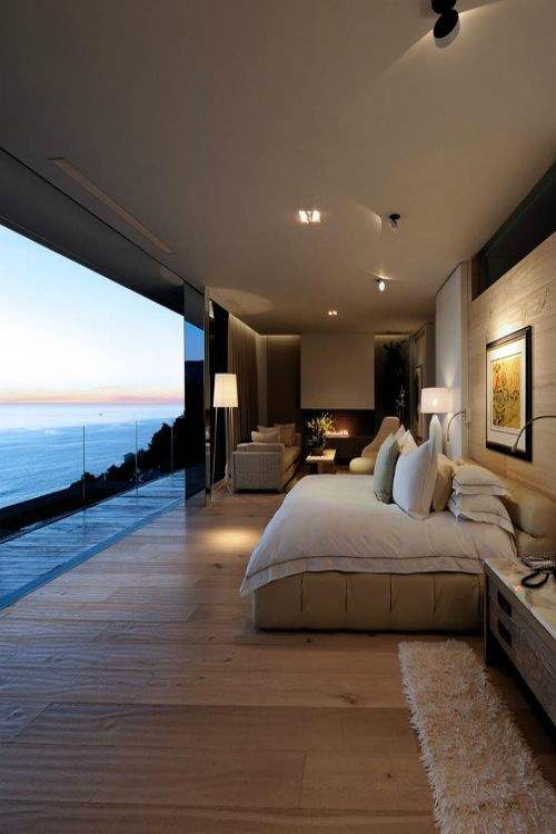 bedroom, modern, neutral, simple, Mallorca, Majorca, Signature Estate, glass wall, view, sea view, cozy, relax