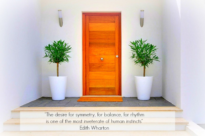 Monday, inspiration, interior, design, quote, entrance, symmetry, two, door, wood