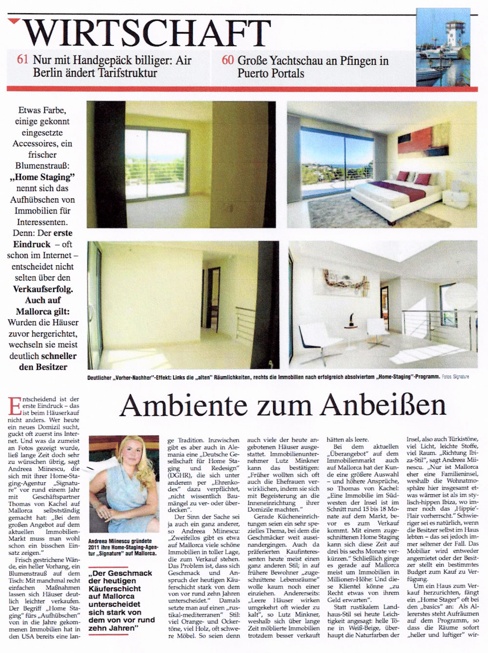 Signature's Home Staging services presented in Mallorca Magazin