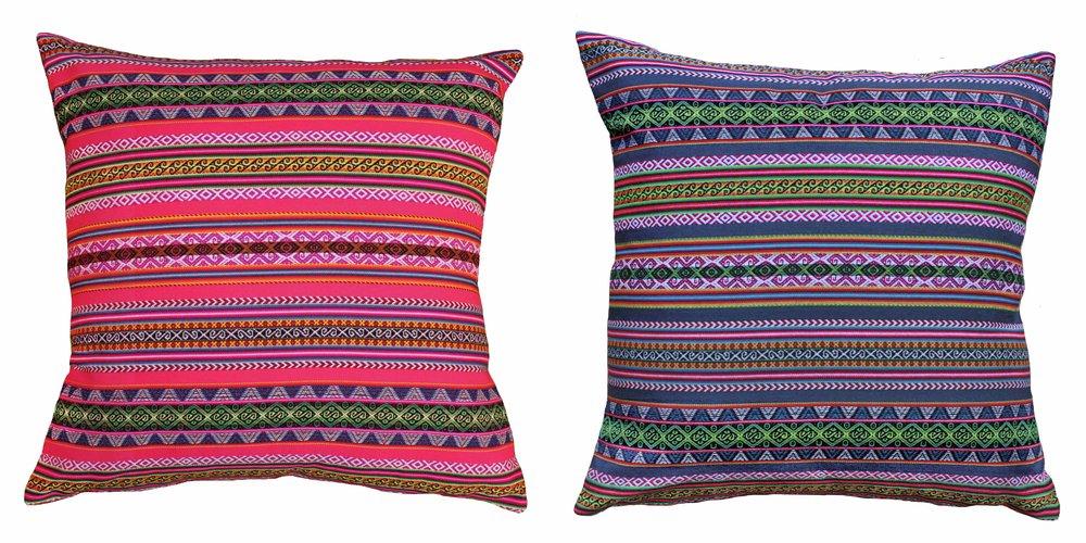 Duo Cuzco Bleu Gris et Rose Maxi - 52x52cm - 119€ les deux coussins