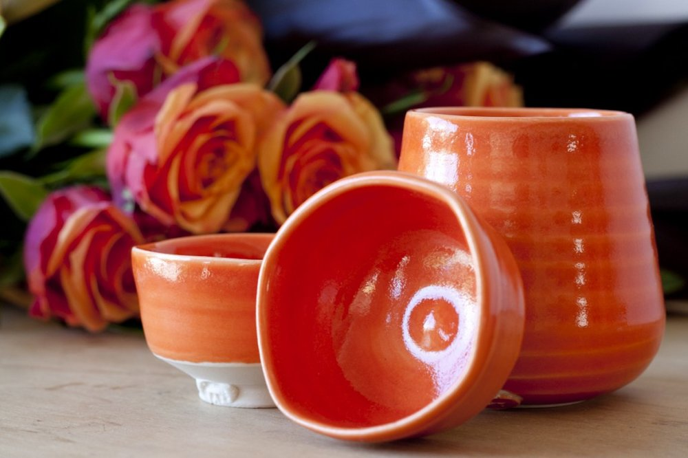 Orange sake cups