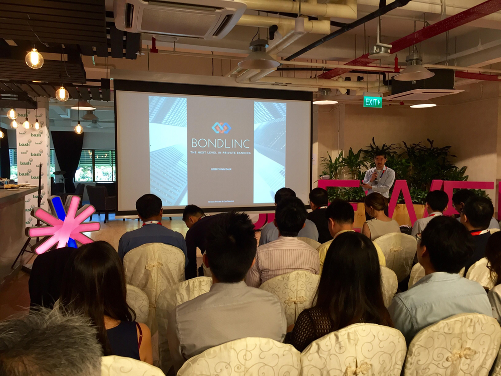 Our CEO, EK, pitching our product to a varied audience of UOB mentors, VCs and domain specialists.  Thanks to all at UOB finlab, SG Innovate and Bash for giving us this opportunity.     Photo credit to our CTO, Vincent Caldeira