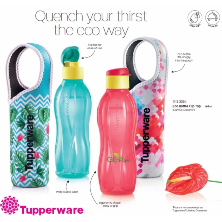 7 POINTS     REDEMPTION CODE: B04   Tupperware Eco Water Bottle Flip Top with Pouch (750ml)