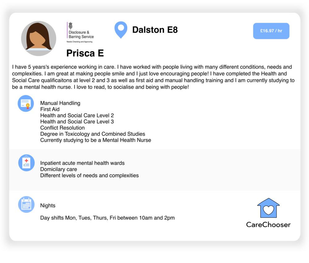 Dalston - Night Care & Home Care - Prisca