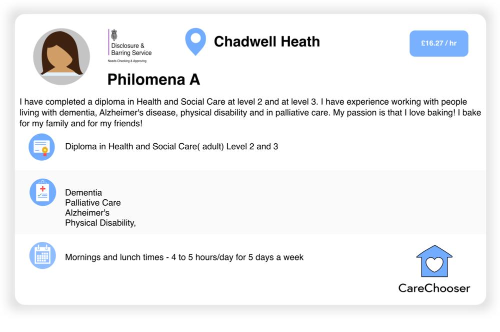 Philomena - Home Care - Chadwell Heath