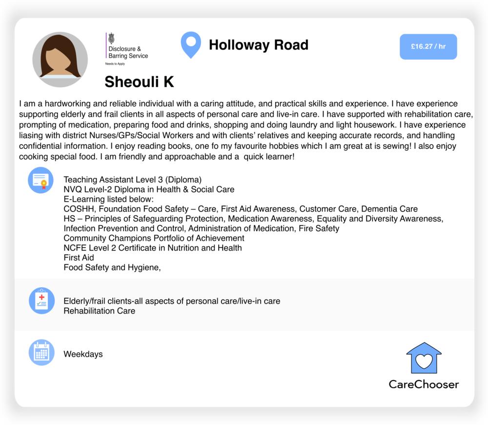 Sheouli - Home Care - Holloway Road