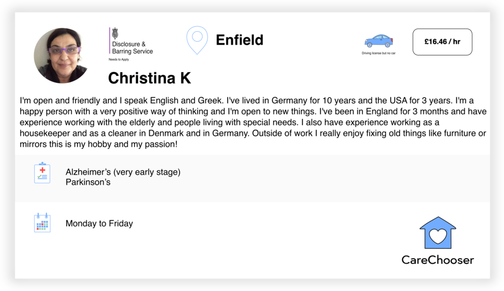 Christina - Home Care - Enfield