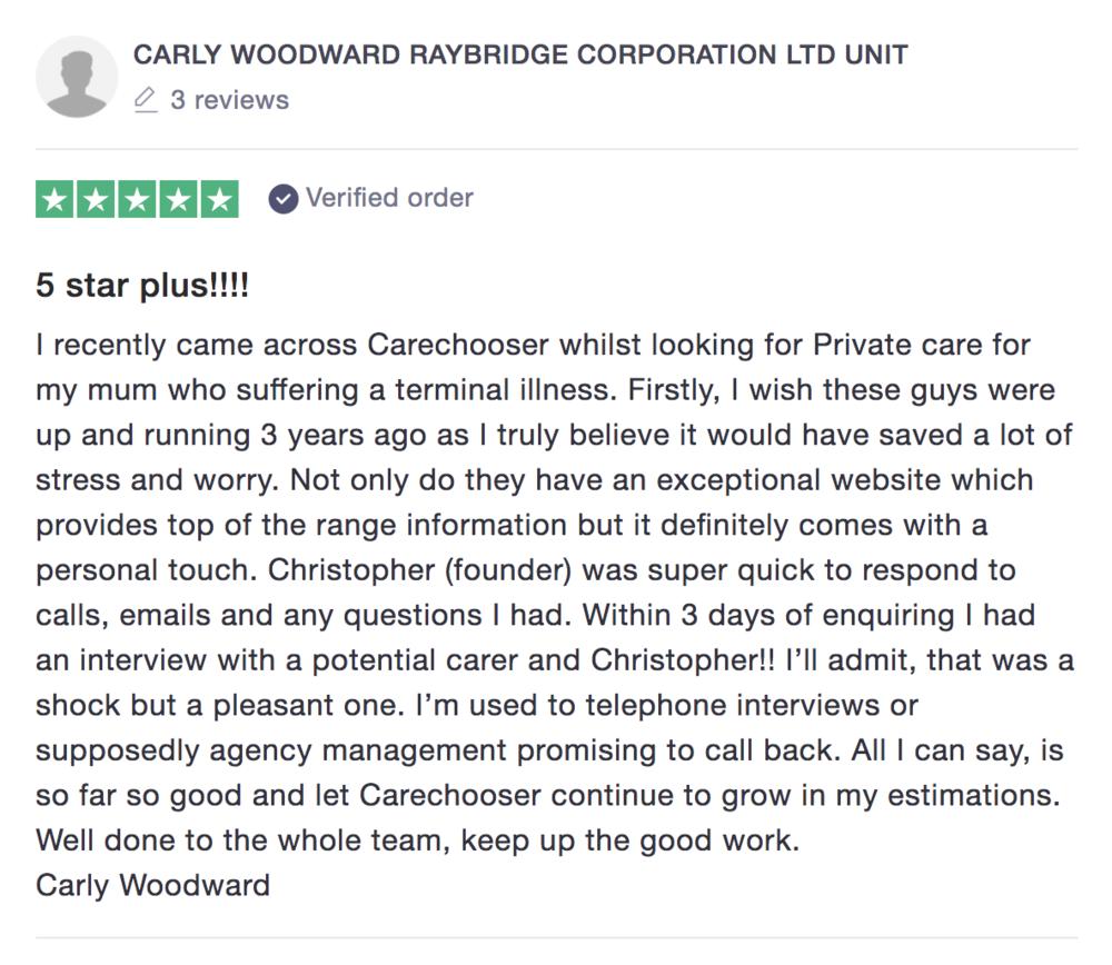 Trustpilot review - CareChooser home care 2019.png